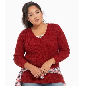 Torrid Marled Knit Red and Black V-neck Sweater 2X